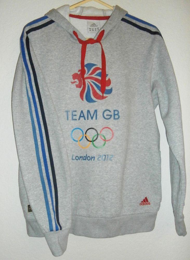 Adidas Team GB Hoodie Sweatshirt Gray Union Jack Lion Olympics 2012 Size M #adidas #GreatBritian