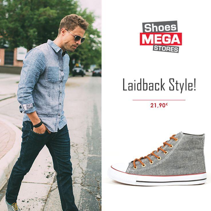 Για μια βόλτα με χαλαρή διάθεση φορέστε τα πάνινα sneakers με τζιν πουκάμισο!  #shoesmegastores #men #casual #sneakers #fashion