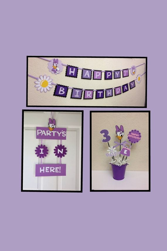 Daisy Duck Birthday Decorations Lot/Party Pack - Centerpiece/Banner/Door Sign Personalized on Etsy, $60.00