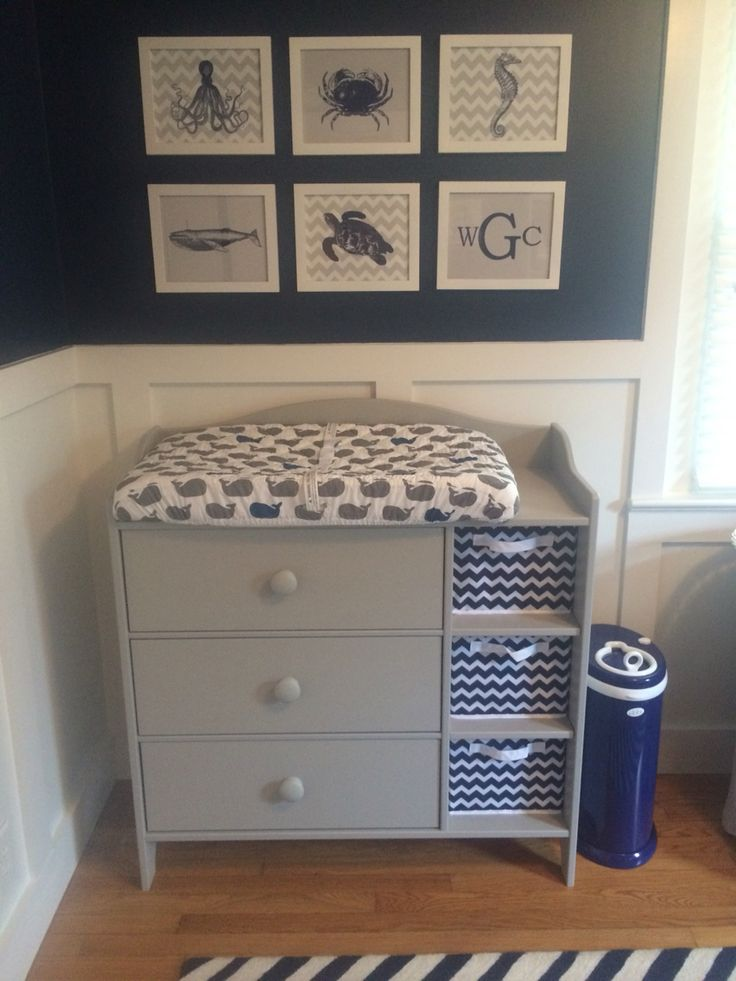 Wesley's nautical, navy and grey nursery - Grey changing table: IKEA, Prints: Etsy, Whale sheet: Land of Nod, Diaper pail: Ubbi