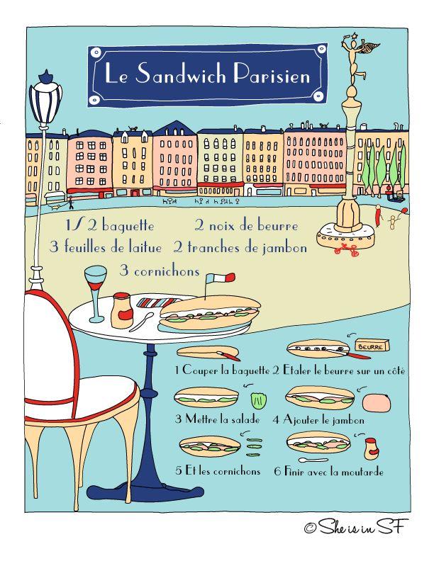 La recette illustrée du sandwich parisien...this blog has some cute recipes, in…