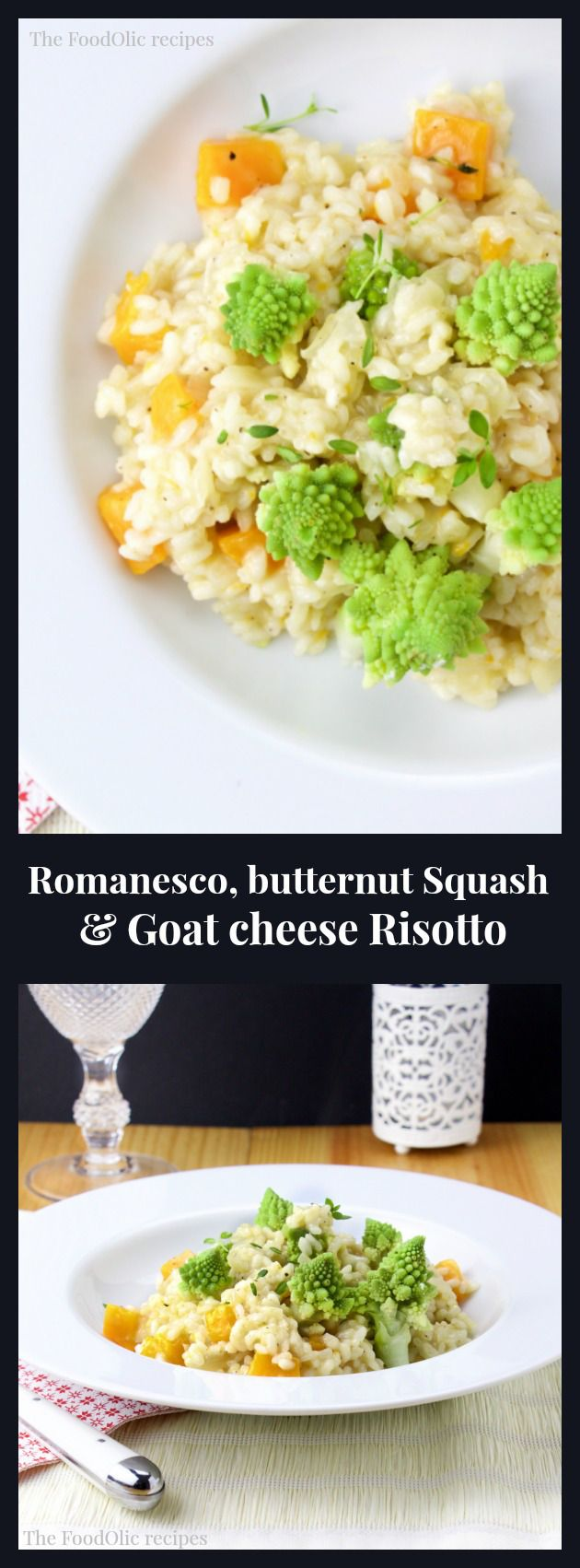 A delicate vegetarian dish, filled with vitamins and resembling a mountain of little pine trees, just in time for the holidays. A risotto with romanesco broccoli, goat cheese and butternut squash with a splash of white wine and fresh thyme. #risotto #romanesco #goatcheese