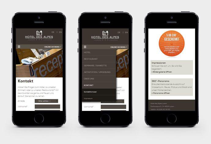 Hotel des Alpes - Responsive Webdesign