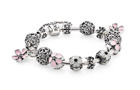 Beautiful Sterling Silver Charms With Pink Flower Charms  <3