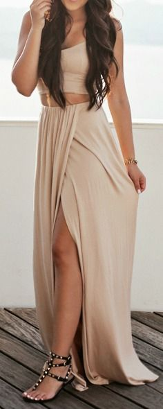 Nude two piece set.