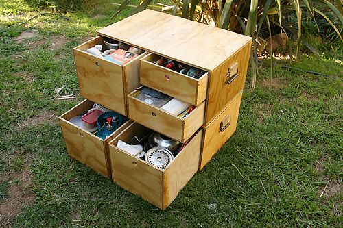 camping boxes. Wonder if I can retrofit my existing on to include drawers? Much easier to get at things without emptying everything out