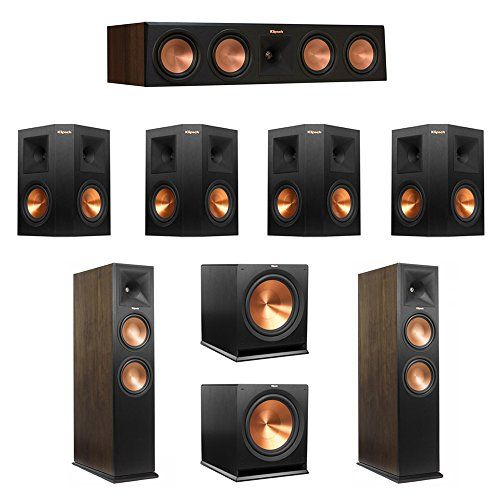Klipsch Walnut 7.2 System with 2 RP-280FA Tower Speakers, 1 RP-450C Center Speaker, 4 Ebony RP-250S Surround Speakers, 2 R-115SW Subwoofers You will Receive: 2 Klipsch RP-280FA Tower Speakers + 1 RP-450C Center Speaker + 4 RP-250S Surround Speakers + 2 R-115SW Subwoofers Klipsch RP-280FA Tower Speaker With built in elevation channel for Dolby Atmos Klipsch Reference Premiere RP-450C center channel speaker brings movie dialogue and music lyrics to life. Four 5.25 Cerametallic�
