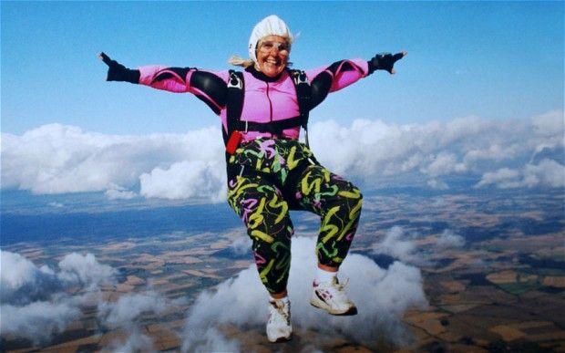 Dilys Price. World's oldest skydiver.
