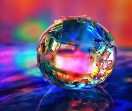 crystal: Beautiful, Rainbows, Glass Ball, Color Splash, Dew Drop, Rainbow Colors, Water Droplets, Colours