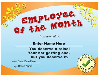 Employee Of The Month Funny Certificate PDF