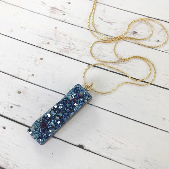 Midnight Blue Druzy Pendant Necklace // Sparkly Geode and Gold Boho Stone // Gifts for Her #druzy #fashionjewelry