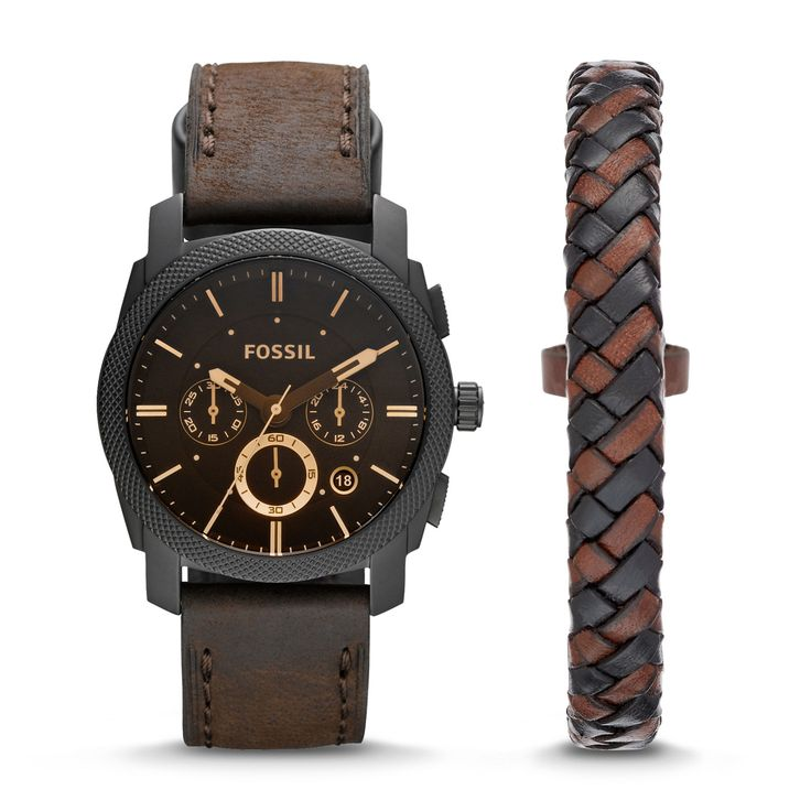 Machine Chronograph Dark Brown Leather Watch and Bracelet Box Set - Fossil India