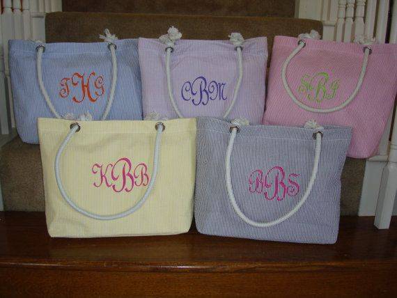 Beach Tote, READY TO SHIP, Beach Bag 5 Seersucker Colors on Etsy, $19.99. I want pink seersucker with blue writing