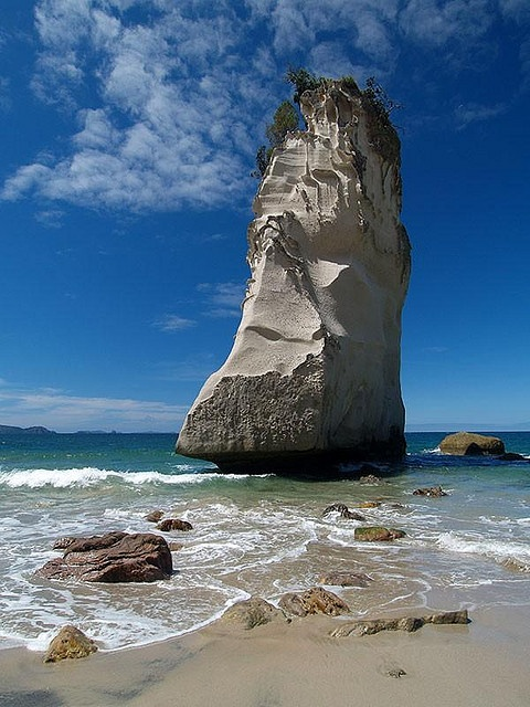 A limestone Rock Stack in the Beautiful Coromandel Region of the North Island of New Zealand