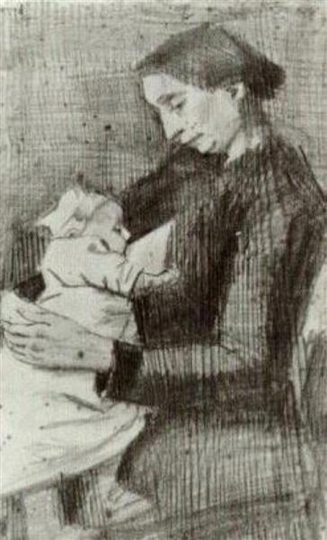 Sien Nursing Baby, Half-Figure, 1882 by Vincent van Gogh. Realism. sketch and study. Rijksmuseum Kröller-Müller, Otterlo, Netherlands