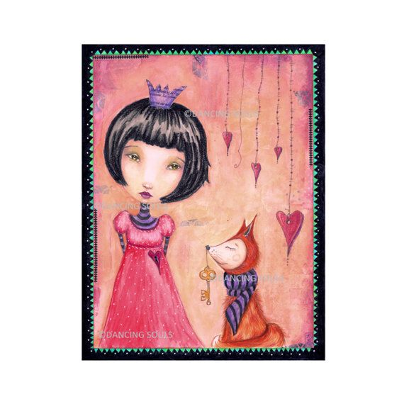 The wise little fox, mixed media painting, illustration, art print, fantasy, wall decor, whimsical art, fairy tale.