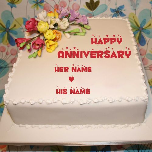 Happy Marriage Anniversary Square Floral Cake With Name.Create Name Anniversary Cake Online.Print Couple Name on Anniversary Wishes Cake.Fondant Flower Cake