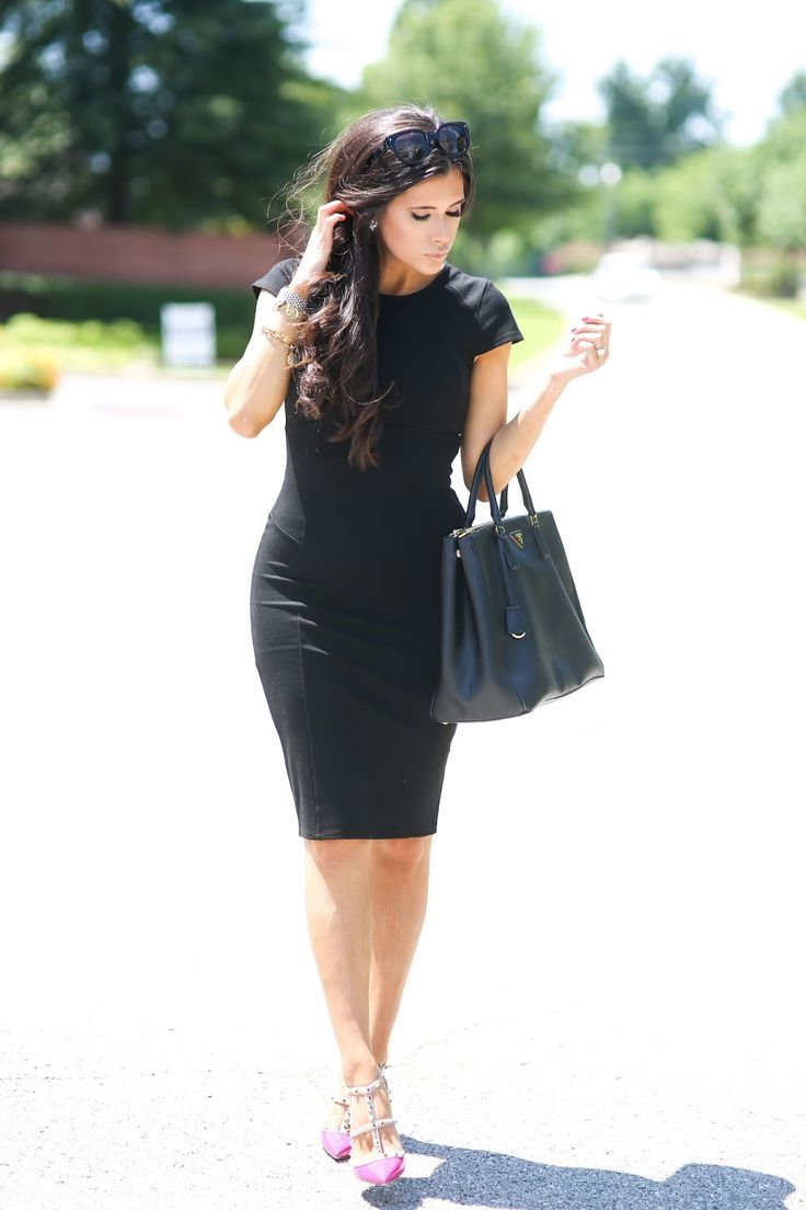 What To Wear To Work Black Pencil Dress And Pink Heels Most Popular Pinterest Outfits Summer Cocktail Dress Little Black Dress Fashion Lil Black Dress [ 1104 x 736 Pixel ]