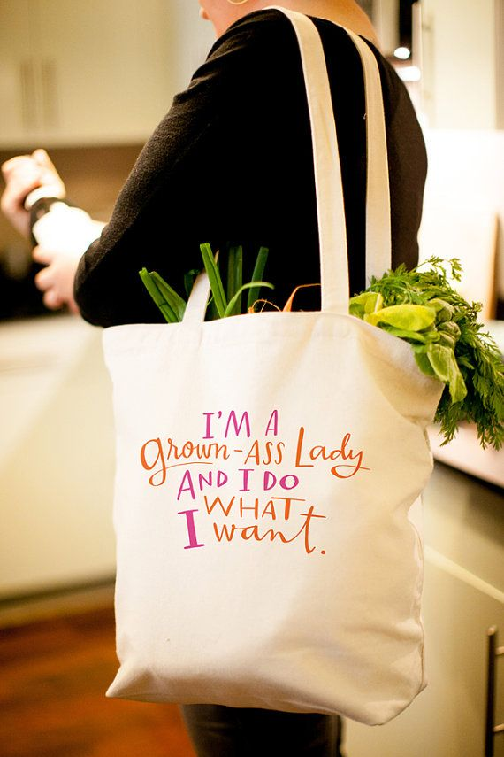 Large Sturdy Thick Canvas GrownAss Lady Tote by emilymcdowelldraws, $24.00