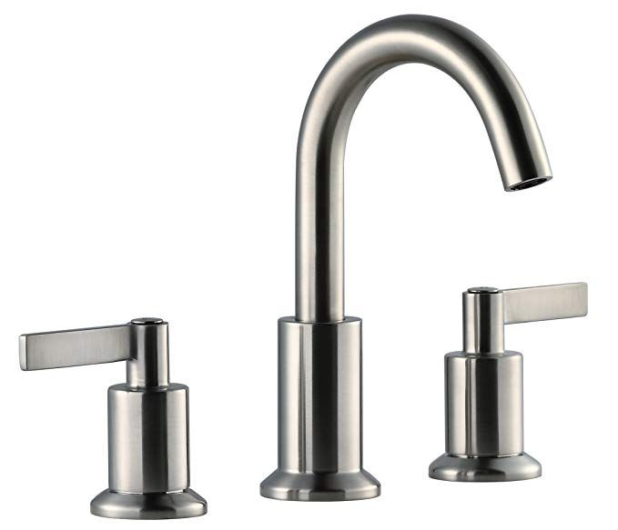 Derengge Lfs 0188 Bn Stainless Steel Solid Brass Two Handle 8 Widespread Bathroom Sink Faucet With Pop U Bathroom Sink Faucets Sink Widespread Bathroom Faucet
