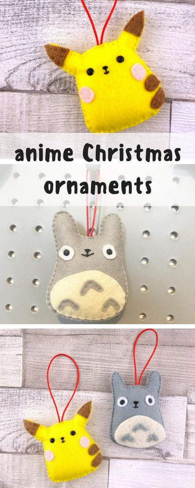 Pikachu and Totoro! These little felt ornaments are so cute :) I know it says Christmas tree ornament but I would display these any time! I would use them like a phone charm or hang on my bag. Kawaii gift for any fans of Japanese anime, Pokemon or Ghibli! #ad #anime #ghibli #pokemon #pikachu #totoro #christmas #ornament #kawaii #etsy #felt