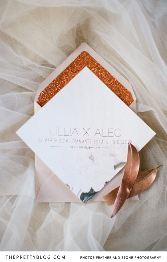 A Winter's Tale Inspired by Copper and Champagne | Styled Shoots | The Pretty Blog | Invitation: www.secretdiary.co.za
