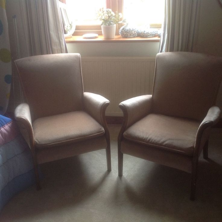 Two Parker Knoll Small Armchairs In Beige Draylon, Used But In Good  Condition