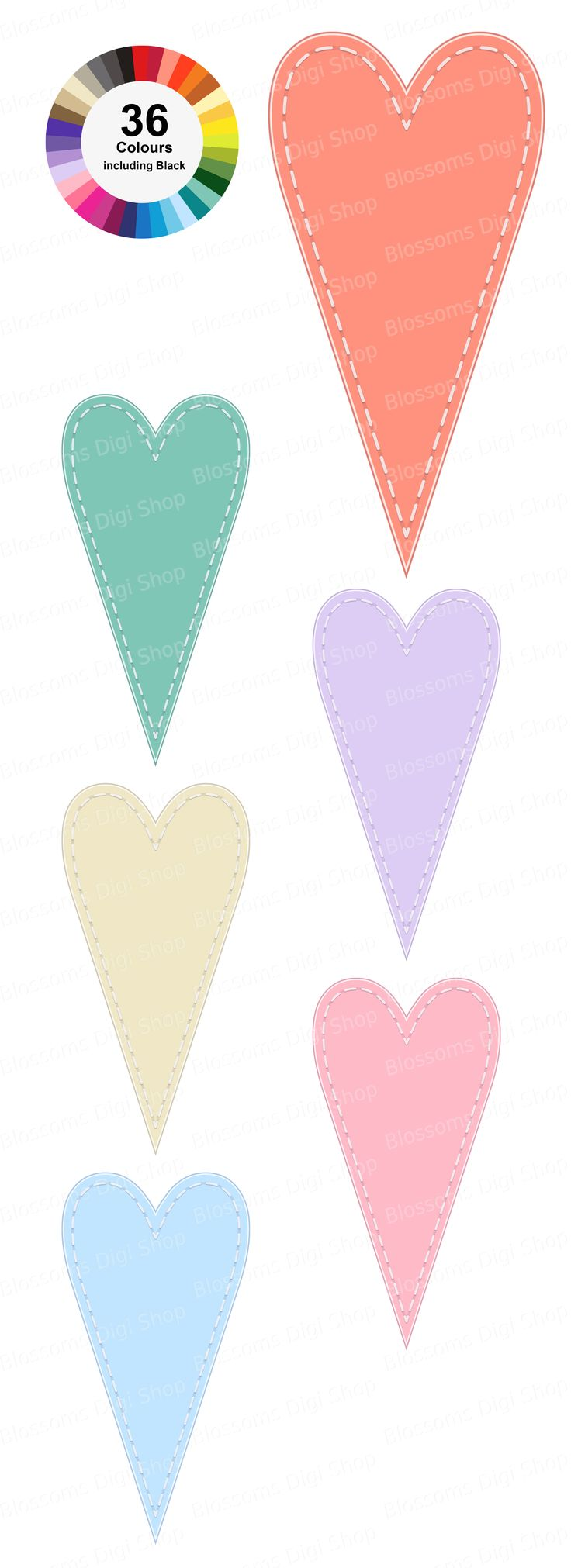 A single image clipart set in 36 colours available at Etsy for digital download. Designed for personal and commercial use.