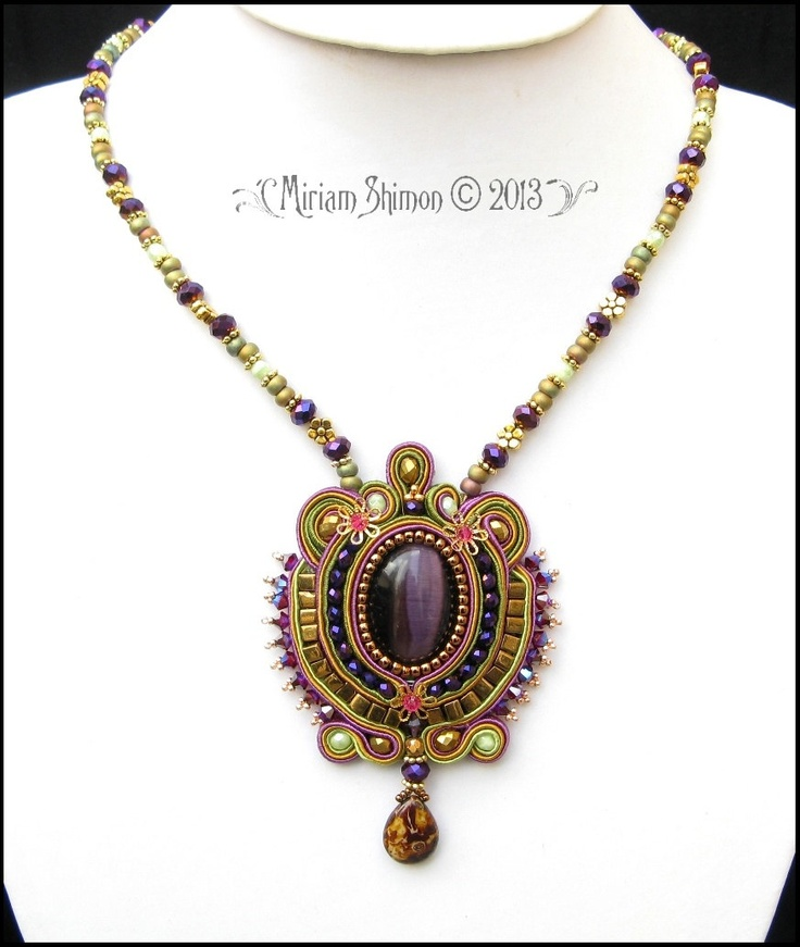 Purple Soutache Pendant necklace in Gold, Olive, Purpe and Green. $145,00, via Etsy.