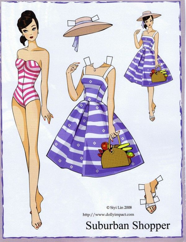 ♡                                                             ✄Paper Dolls 1950's Barbie Suburban Shopper paper doll by Siyi Lin Paper Doll