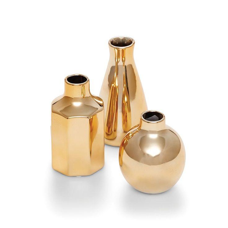 Salt & Pepper Decor S/3 Gold Ceramic Bud Vases