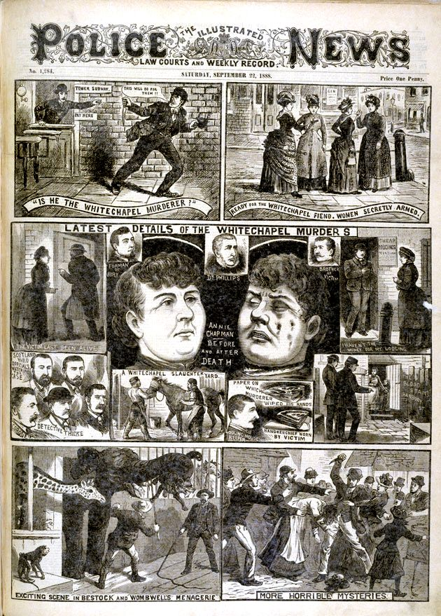 Newspaper report on the Whitechapel murderer aka Jack the Ripper, 1888....these are plastered on the walls of The Ten Bells Pub...