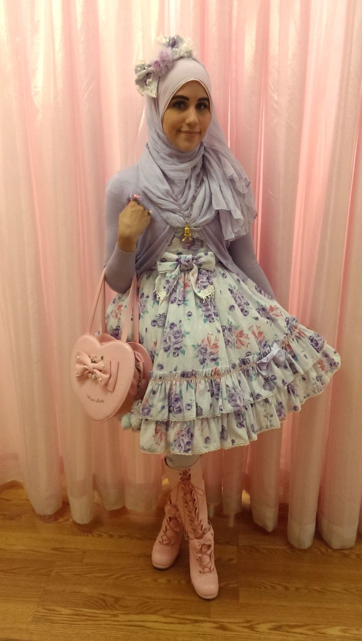 """thehijabilolita: """"Hello everyone! This is my coord of the day for hanging out with lovely friends! Coord Rundown: -JSK: AP Eternal Rose Bouquet -Bag: AP -Cardigan: Emily Temple Cute -Boots:..."""