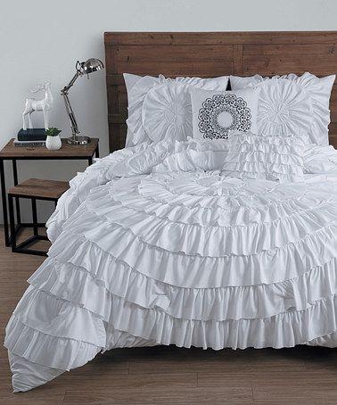 Look what I found on #zulily! White Sadie Circle Ruffle Comforter Set #zulilyfinds