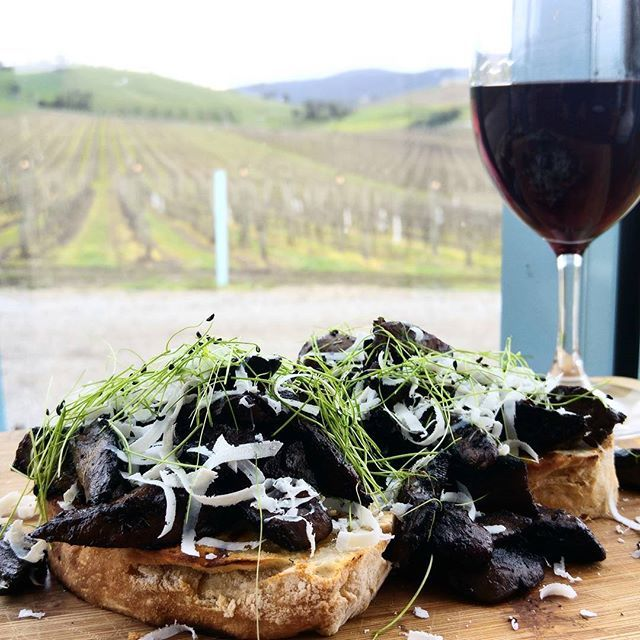 Winter Bruschetta at @soumahwines. Sauteed mushrooms, parmesan cheese on sourdough bread. With a side of View and a sip of Pinot Noir. Sounds like the weekend to me!!