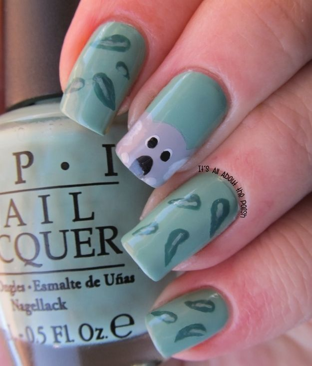 Gum Leaves | 27 Awesome Nail Art Designs For Australia Day