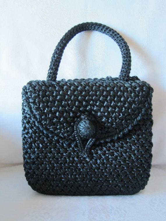 60s Black Woven Straw Purse Vintage Handbag by FancyVintageFinds, $15.00