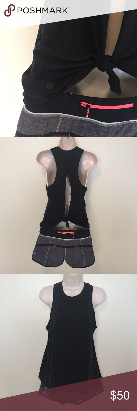 lululemon all tied up tank. black. 4. lululemon all tied up tank black. 4. never worked out in. slight fade (as is normal with black). OUT OF STOCK ONLINE. NO TRADES. lululemon athletica Tops Tank Tops