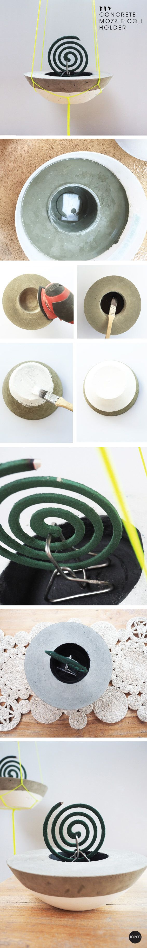 DIY mozzie Coil Holder made from concrete. Genius, love the hanging option, check out the tutorial on this blog.