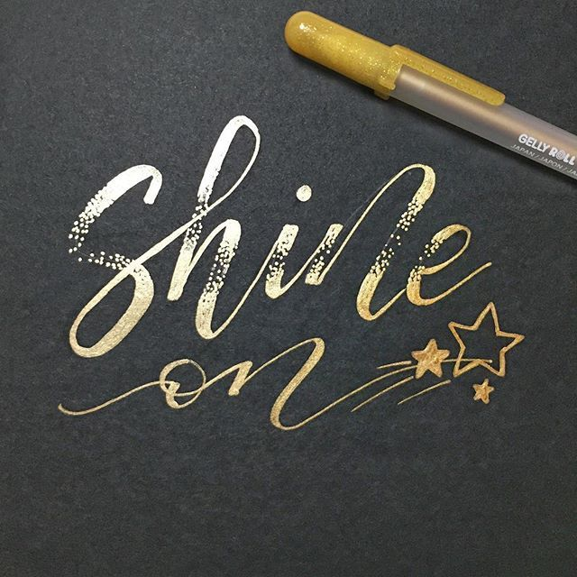 My #cb_gelpen entry for the week! This is a little saying that I have embossed and scotch taped to my wall. Yeah, I'm not much of a decorator. Haha it reminds me to just be happy and be me! I hope it does for you as well. I lettered this with a gold @sakuraofamerica gelly roll pen.  I wish the ombré was a little nicer and more of a gradual gradient  . . . . . #moderncalligraphy #modernscript #handlettering #gelpen #calligraphy #calligrapher #handmadefont #handlettered #lettering…