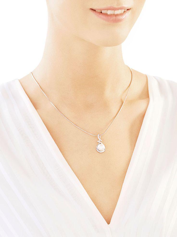 Zawieszka srebrna z perła i cyrkoniami - wzór AP120-3605 / Apart