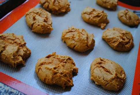 Two-Ingredient Pumpkin Spice Cookies! Use a spice cake cake mix and a can of pumpkin filling, mix well and drop onto greased cookie sheets. Bake at 350 degrees for 10-12 minutes. Super easy, family approved :)
