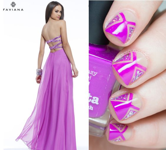 The Nailasaurus made a wildly creative custom manicure for #faviana style 7364! Check out her blog to recreate the look at home! http://www.thenailasaurus.com/2014/04/prom-dress-nail-art-tutorial.html #manicuremonday