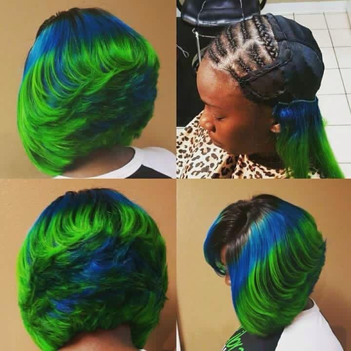Blue Green Black Weave Bob Feathered Mermaid Bob