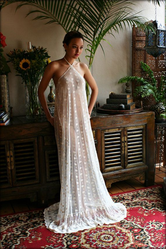 Bridal Nightgown Embroidered Lace Halter Backless Gown Wedding