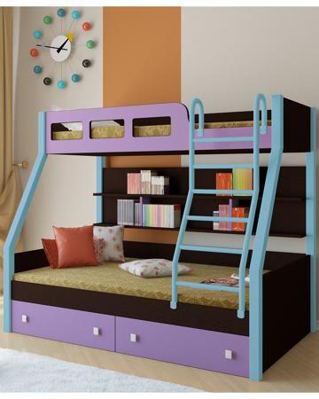 РВ мебель Рио каркас венге/голубой фиолетовая  — 21900р. ------- Двухъярусная кровать Рио каркас венге/голубой фиолетовая РВ мебель позволит вам значительно сэкономить жизненное пространство и обеспечить два полноценных спальных места.