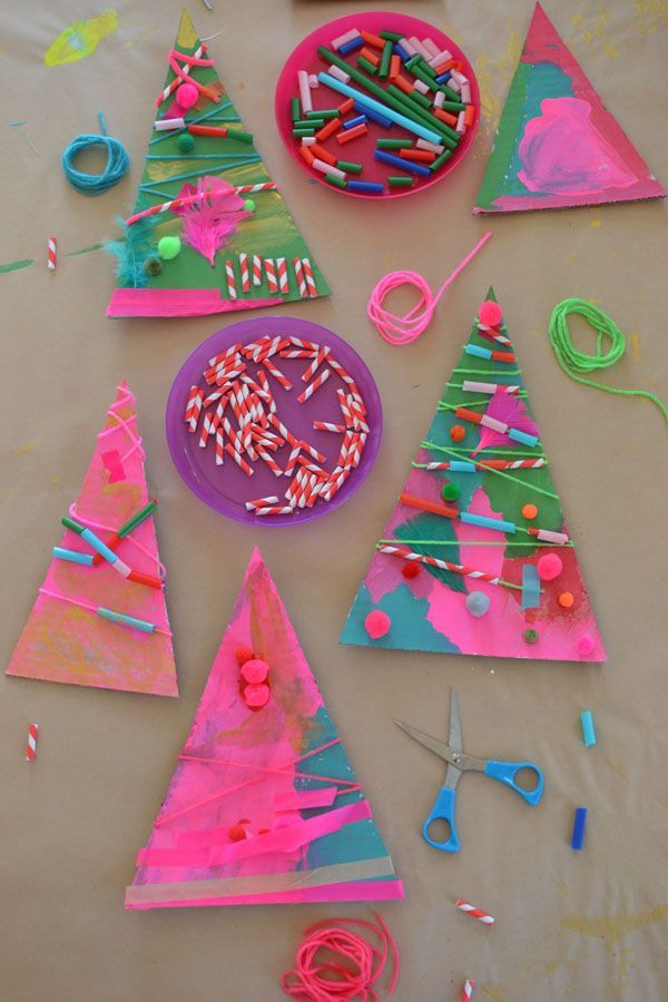 Cardboard Christmas tree craft for kids.