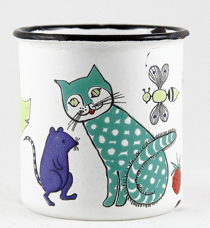 Kitty-cat enamelware mug | so cute and unique! | cat & mouse | Noakin arkki -mug, design Gunvor Olin-Grönqvist