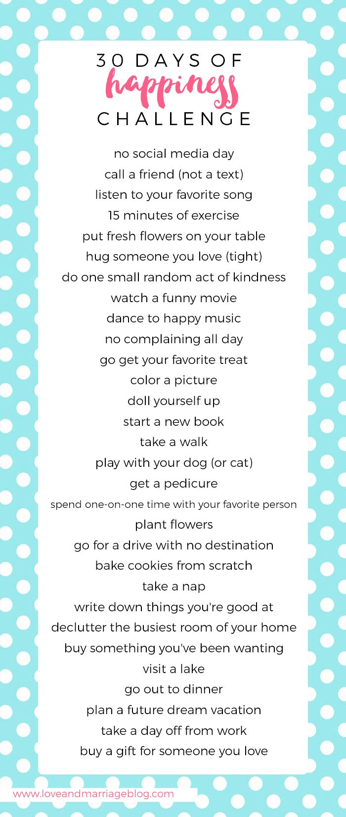 30 Day Happiness Challenge. A simple jump start to living a happier life!