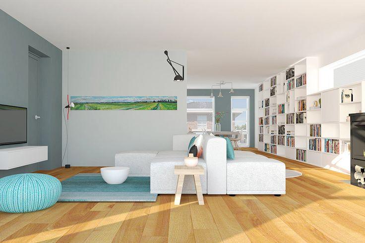 Moderne woonkamer met elementenbank in grijs en petrol tinten | Styling Adrianne van Dijken Interieuradvies